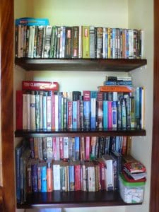"""Love this book collection at our vacation rental – full of best sellers and latest titles, plus some oldies.  It's now a reading vacation!"""